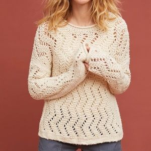 Anthropologie sable pointelle sweater pullover